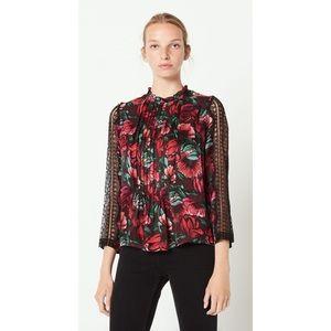 Sandro Fleur Lace Trim Silk Floral Print Blouse